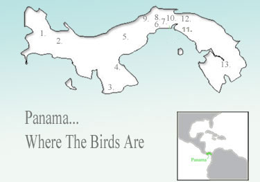 Panama Birding Destinations - Map of Panama